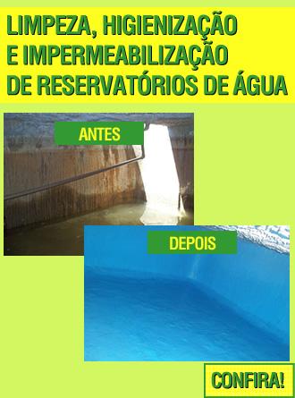 Limpeza e impermeabilização de reservatórios de água.